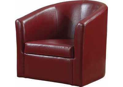 Cocoa Bean Contemporary Faux Leather Red Accent Chair