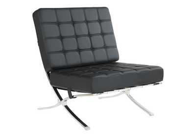 Mine Shaft Black and Chrome Accent Chair