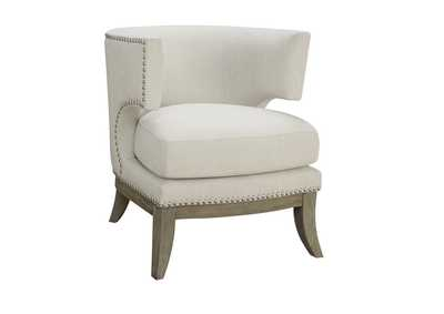 Weathered Grey Contemporary White Accent Chair