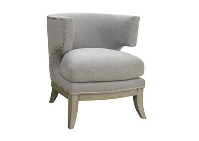 Weathered Grey Transitional Grey Exposed Wood Accent Chair