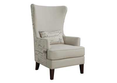Brown Traditional Cream Accent Chair