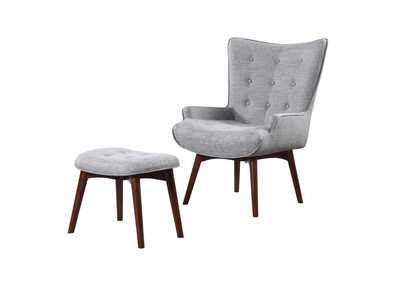 Image for Grey & Brown Accent Chair With Ottoman