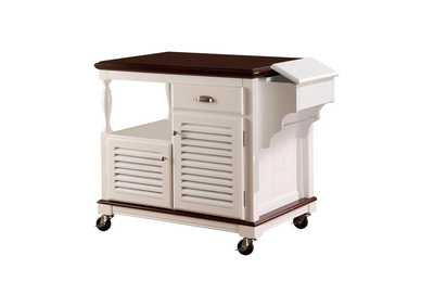 White Traditional White Kitchen Cart