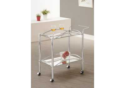 Cararra Traditional Chrome and Glass Serving Cart