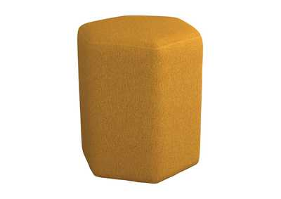 Image for Hexagonal Upholstered Stool Yellow