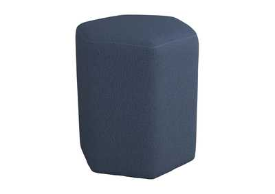Image for Hexagonal Upholstered Stool Blue