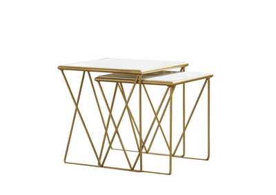 White Modern Marble and Gold Nesting Tables