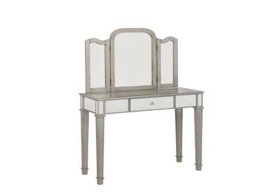 Cararra Contemporary Metallic Platinum Vanity Set