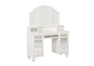 Cararra Transitional Beige and White Vanity Set