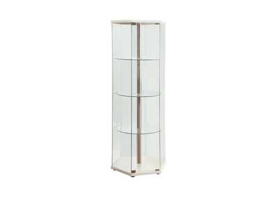 Image for White Traditional Glass Hexagon Curio Cabinet