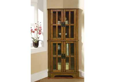 Indian Khaki Traditional Warm Brown Curio Cabinet