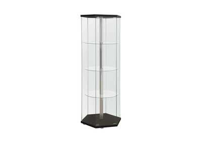 Black Traditional Glass Hexagon Curio Cabinet