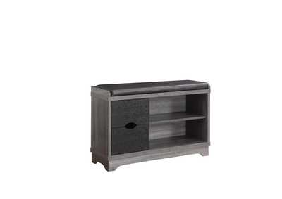 Distressed Grey/Black Rustic Distressed Grey Shoe Cabinet