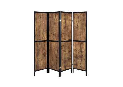 Antique Nutmeg Industrial Antique Nutmeg Four-Panel Screen