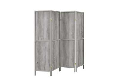 Grey Driftwood Rustic Grey Driftwood Four-Panel Screen