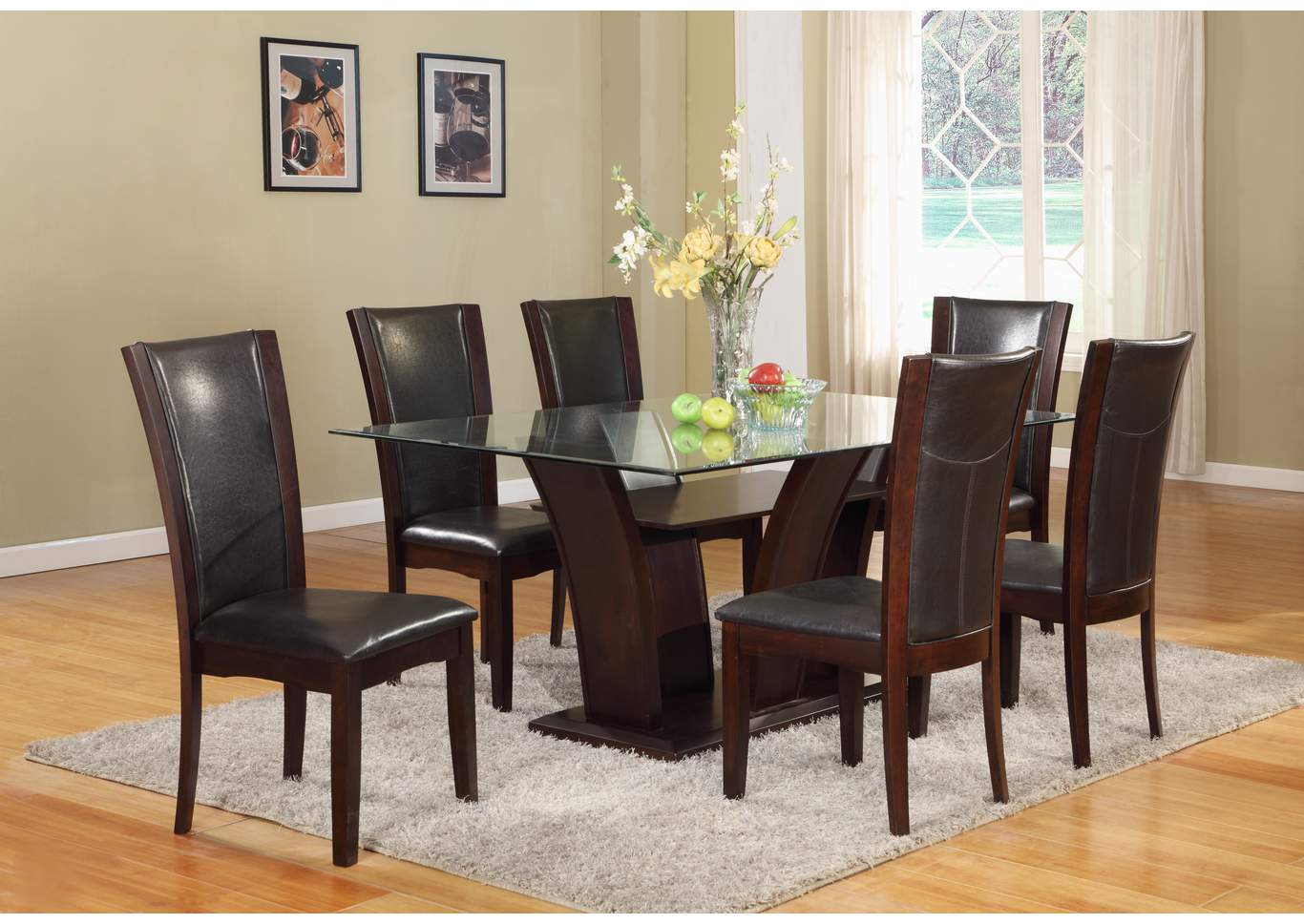 Camelia Rectangular Glass Top Dining Room Table w/6 Espresso Side Chairs,Crown Mark