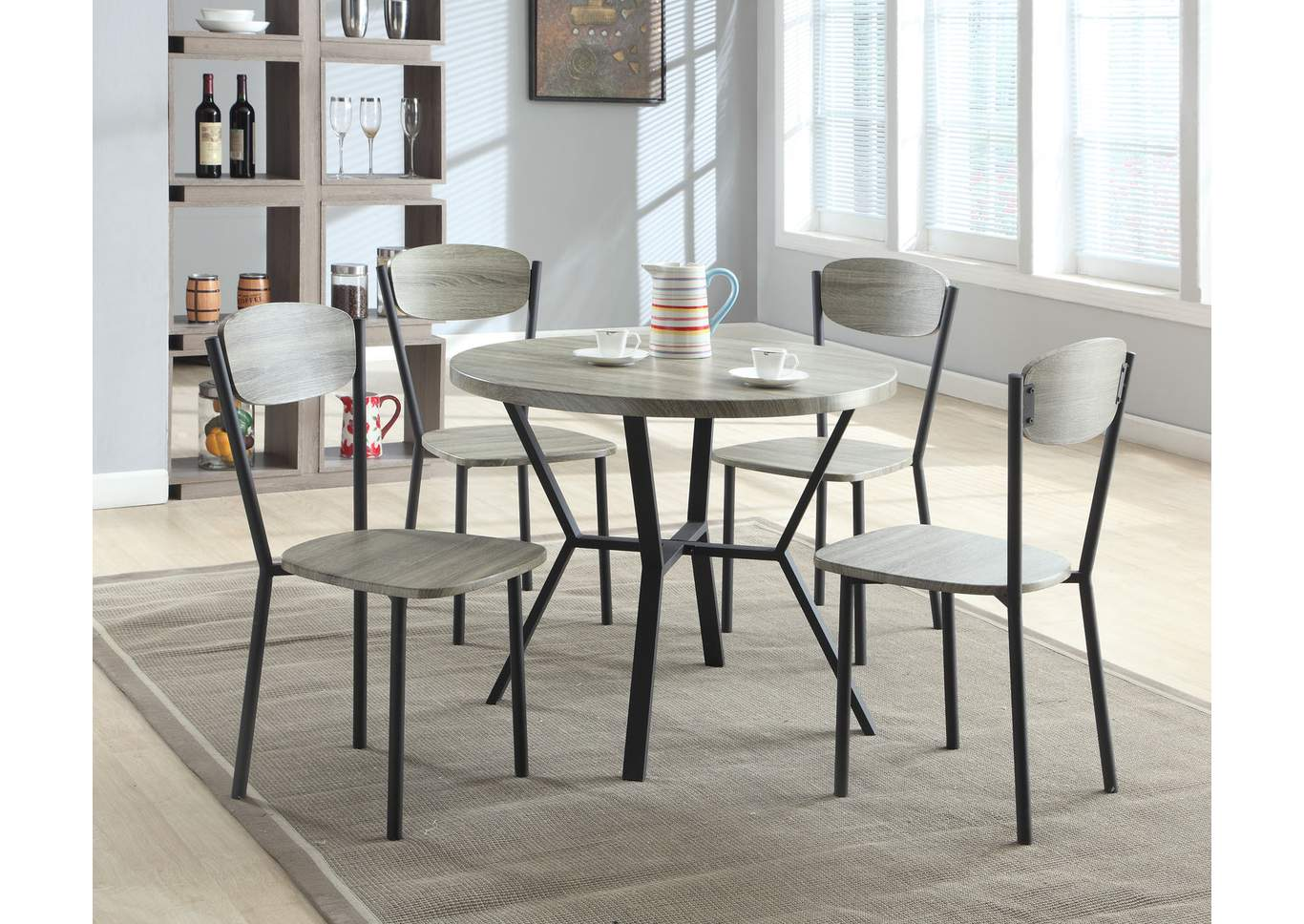 Blake 5 Piece Set Round Dining Table/Chair,Crown Mark