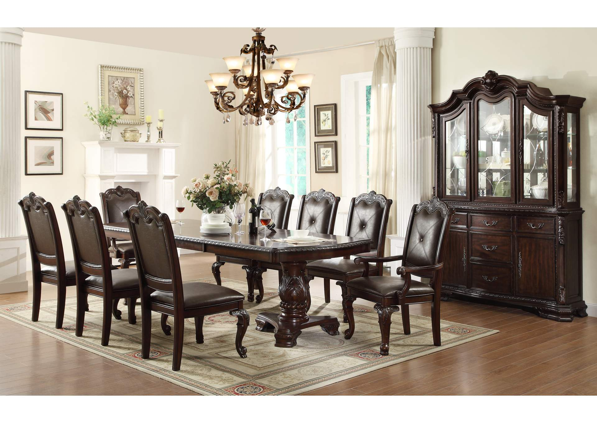 Kiera Rectangular Dining Room Table w/6 Side Chairs and 2 Armed Chairs,Crown Mark