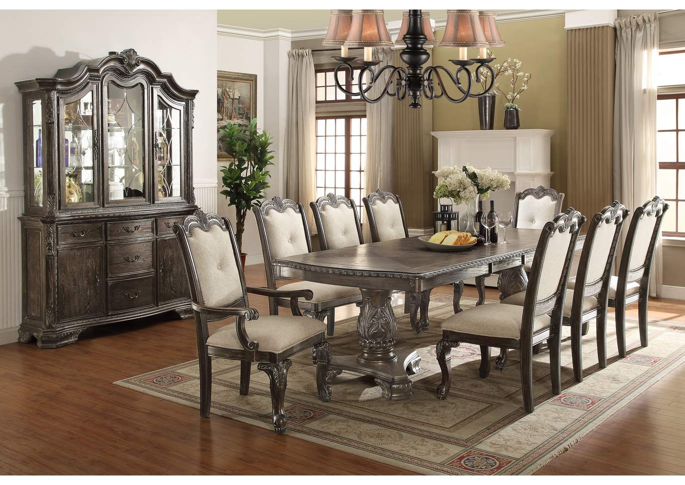 "Kiera Grey Dining Table Top w/2X18"" Leaves,Crown Mark"