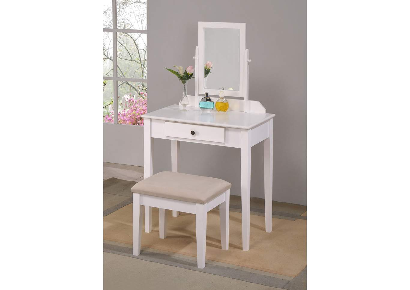 Iris Vanity Table & Stool,Crown Mark