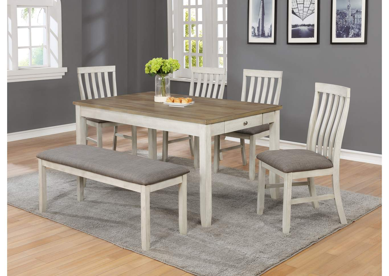 Nina Brown Dining Table W 4 Side Chairs And A Bench Kirk Imports