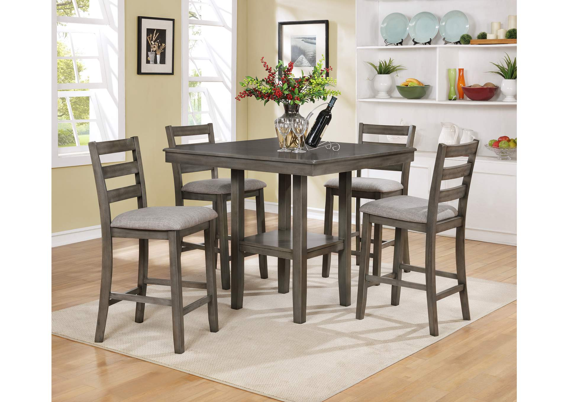 Tahoe Grey 5 Piece Set Counter Height Dining Table,Crown Mark