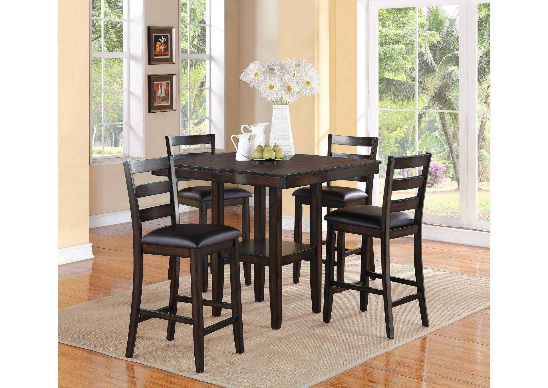 Tahoe 5 Piece Set Counter Height Dining Table Set,Crown Mark