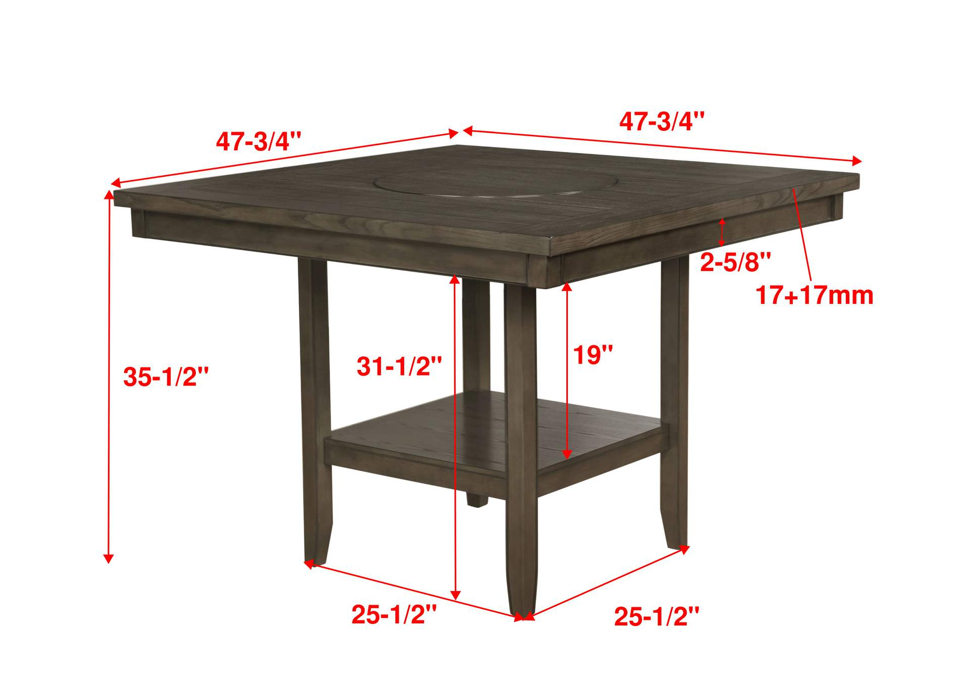 Fulton Grey Counter Height Dining Table,Crown Mark