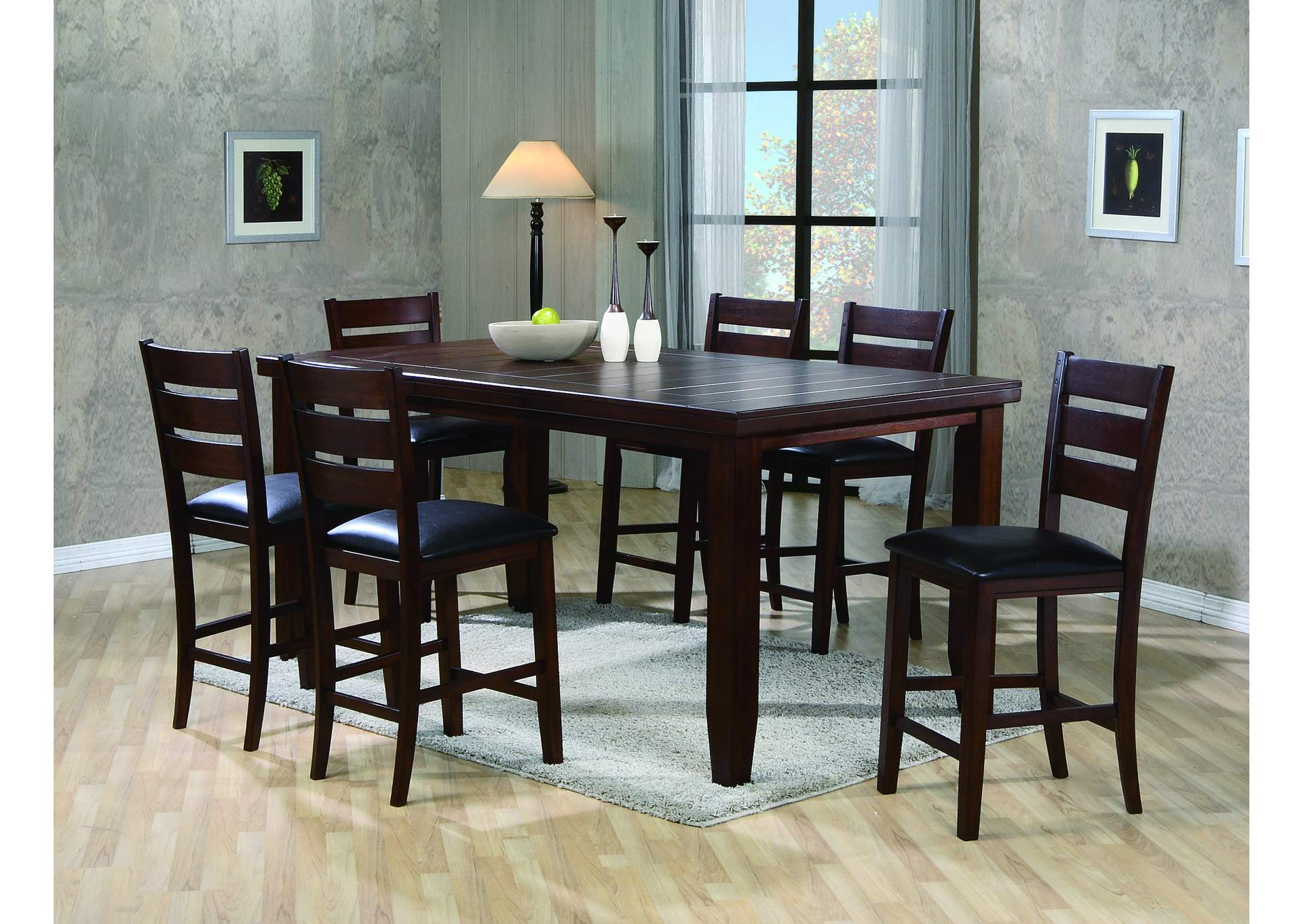 Bardstown Counter Height Extension Dining Table w/ 6 Side Chairs,Crown Mark