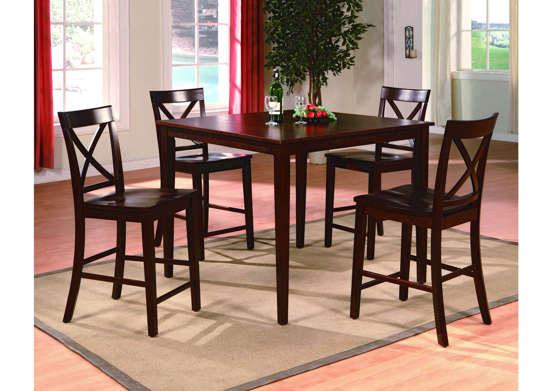 Theodore 5 Piece Set Counter Height Dining Table Set,Crown Mark