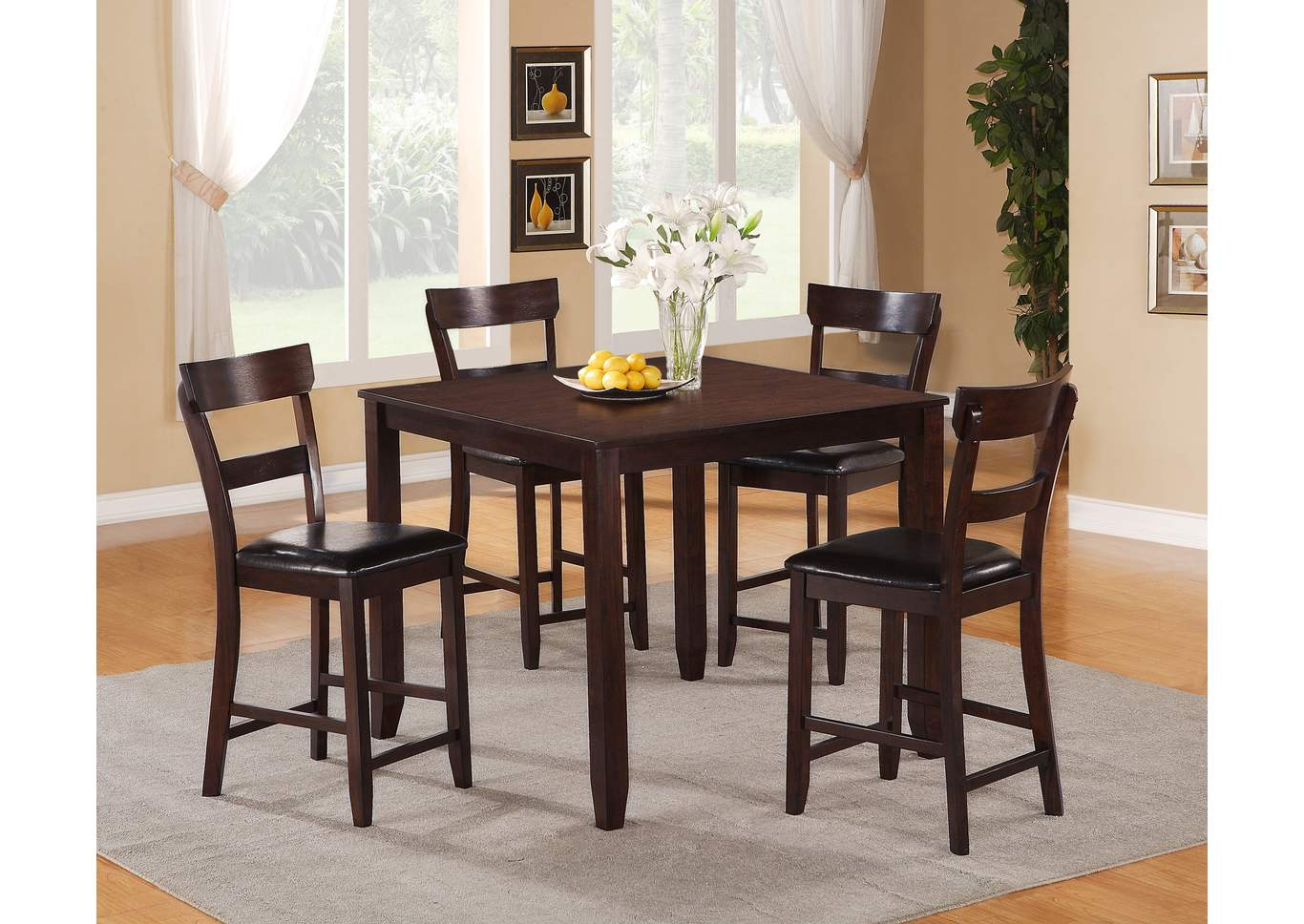 Henderson 5-Piece Counter Height Dinette,Crown Mark