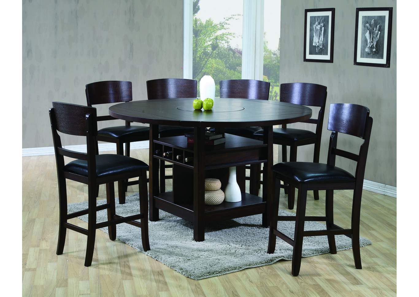 Conner Espresso Counter Height Table w/4 Side Chairs,Crown Mark