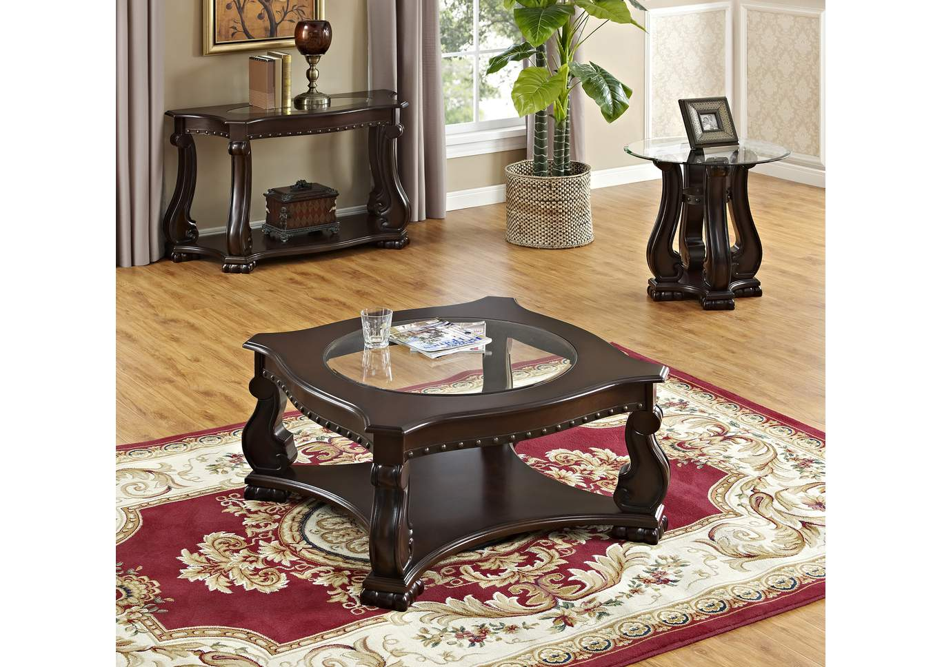 Madison Wood Occasional Table Set (Cocktail, Sofa & 2 Ends),Crown Mark