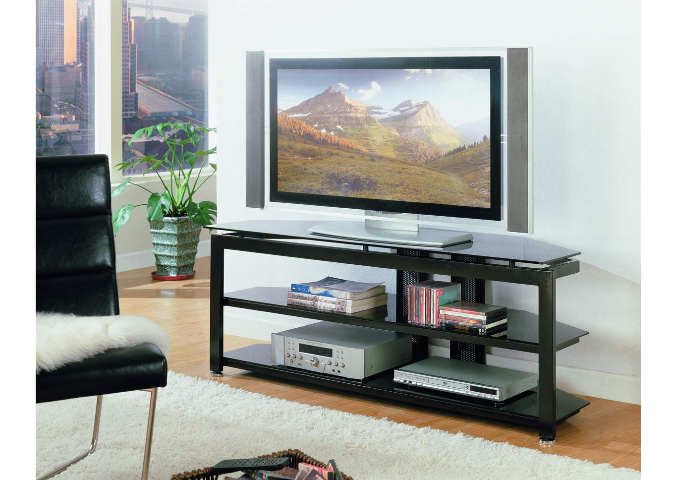 Delta Glass Top Television Stand,Crown Mark