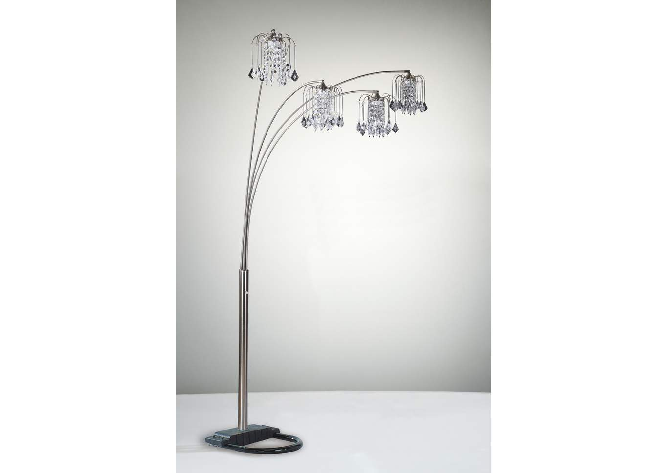 Rain Drop Arc Lamp 84 H Pewter,Crown Mark