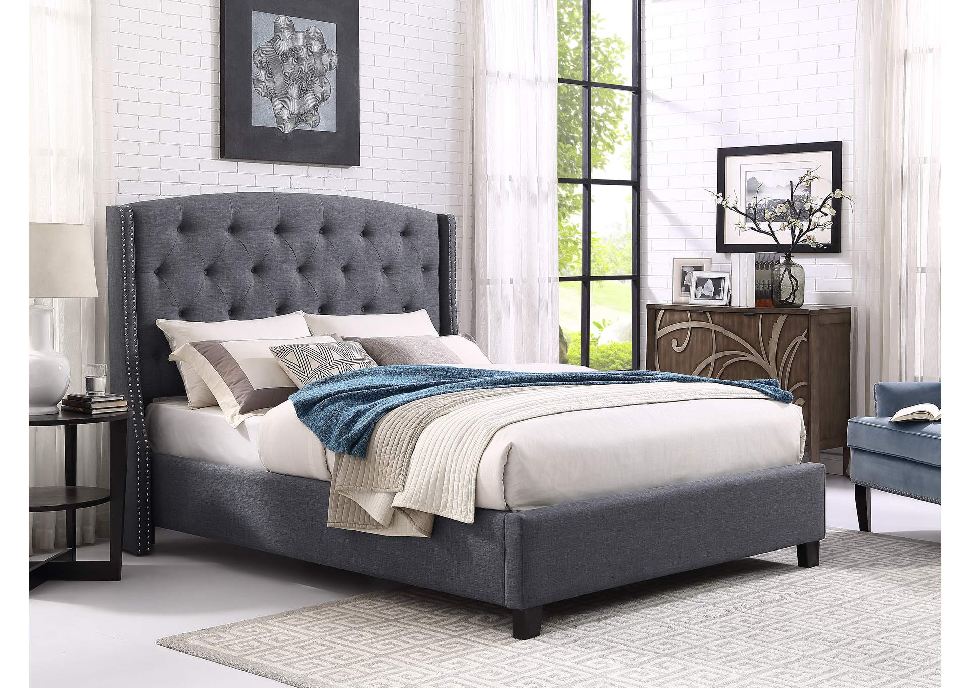 Eva Grey Upholstered Queen Platform Bed Ivan Smith