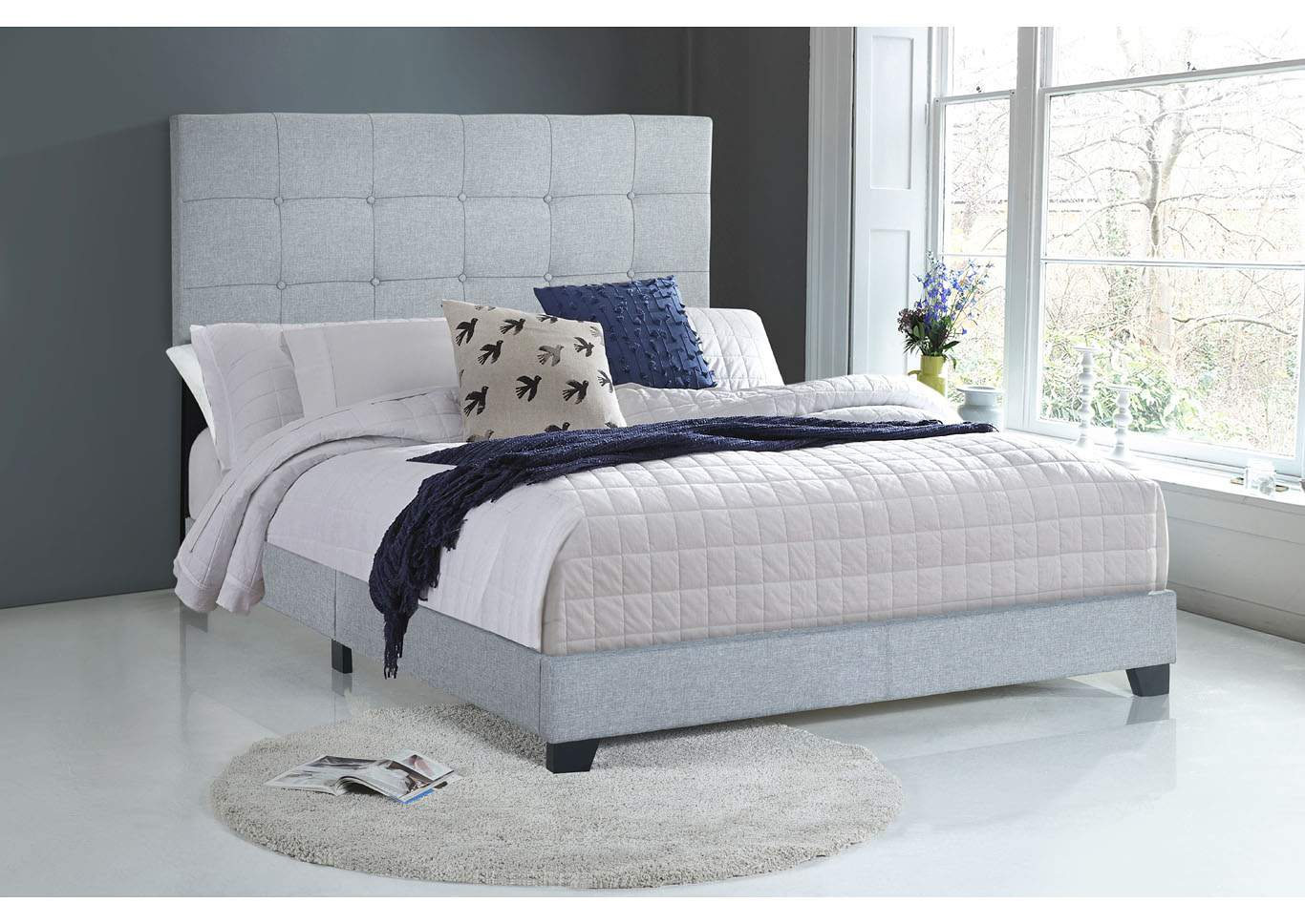 Florence Light Grey King Upholstered Bed,Crown Mark