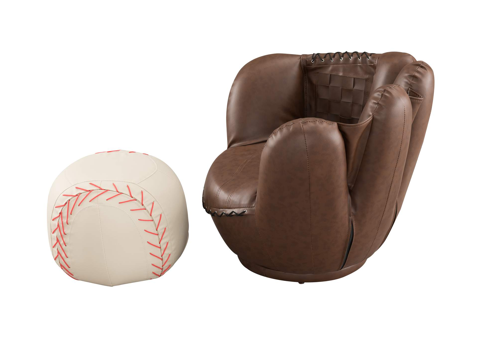 Baseball Glove Chair & Ottoman,Crown Mark