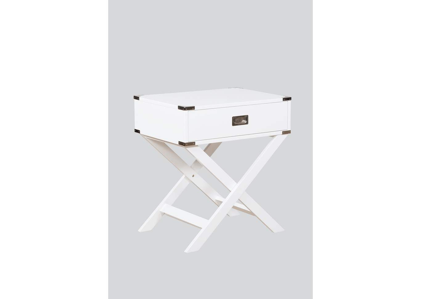Hudson White Chairside Table,Crown Mark