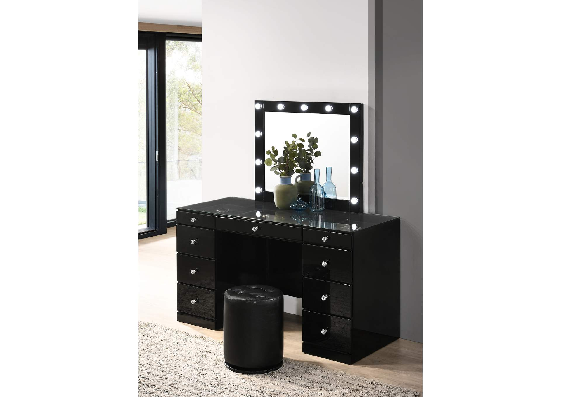Avery Black Vanity Set W/ LED,Crown Mark