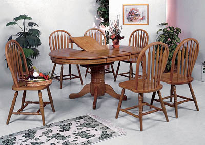 Farmhouse Oval Dining Table w/6 Side Chairs