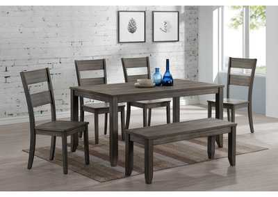 Image for Sean Grey Rectangular Wooden Dining Set W/ 4 Chairs & Bench