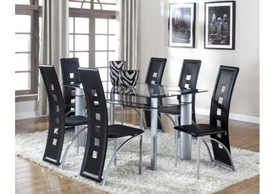 Image for Echo Black Rectangular Glass Dining Set W/ 6 Chairs