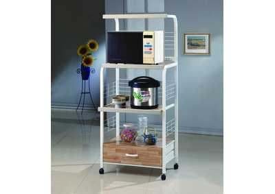 Image for Kitchen White Kitchen Shelf On Casters