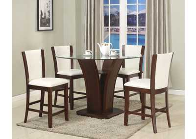 Image for Camelia Counter Height Dining Room Table w/4 White Counter Height Chairs