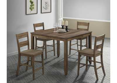 Image for Sean Medium Brown Square Wooden Dining Set W/ 4 Chairs