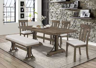 Image for Quincy Brown Rectangular Dining Set W/ 4 Chairs & Bench
