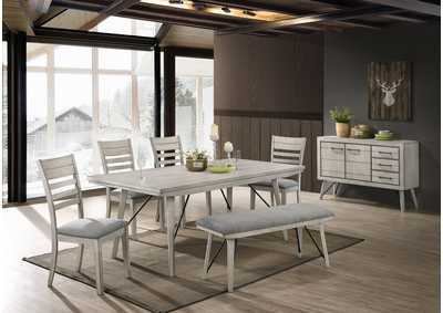 Image for White Sand White Rectangular Dining Set W/ 4 Chairs, Bench & Sideboard