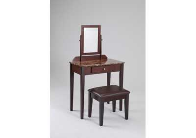 Iris Vanity Table & Stool Faux Marble,Crown Mark