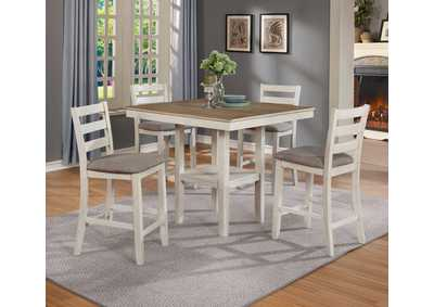 Tahoe 5 Piece Set Counter Height Dining Table Wh/Oak,Crown Mark